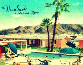 Mid Century Modern Art Motel Print Valentines Gifts for Him, PALM SPRINGS Art vintage California art MCM Art Swimming Pool Warm Sands Motel
