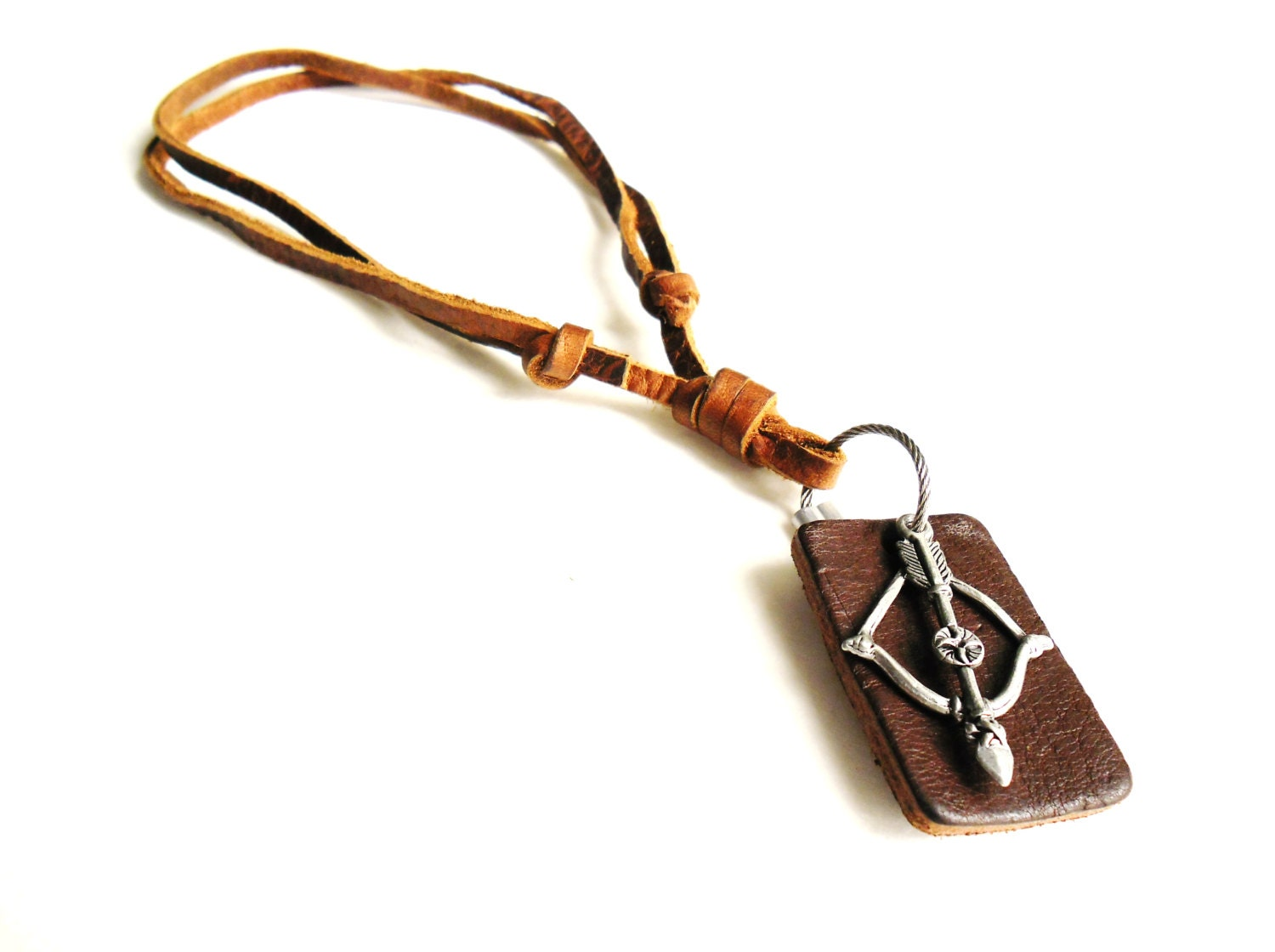 Bow and Arrow Leather and Metal Mens Necklace Cupids by ...