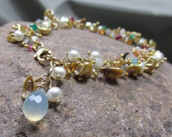 Pearls with Gems Cluster Bracelet