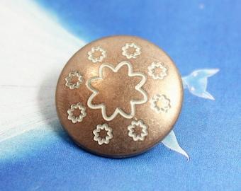 Metal Buttons - Flower Wreath Metal Buttons , Copper White Color , Shank , 0.83 inch , 10 pcs