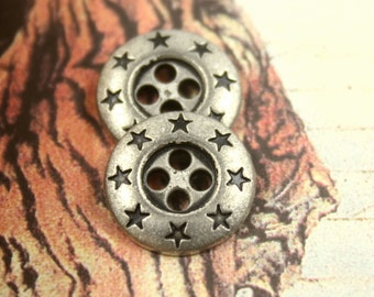 Metal Buttons - Star Wreath Metal Buttons , Retro Silver Color , 4 Holes , 0.59 inch , 10 pcs