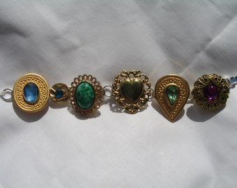 Vintage earring upcycled jewelry bracelet with multi-colored stones