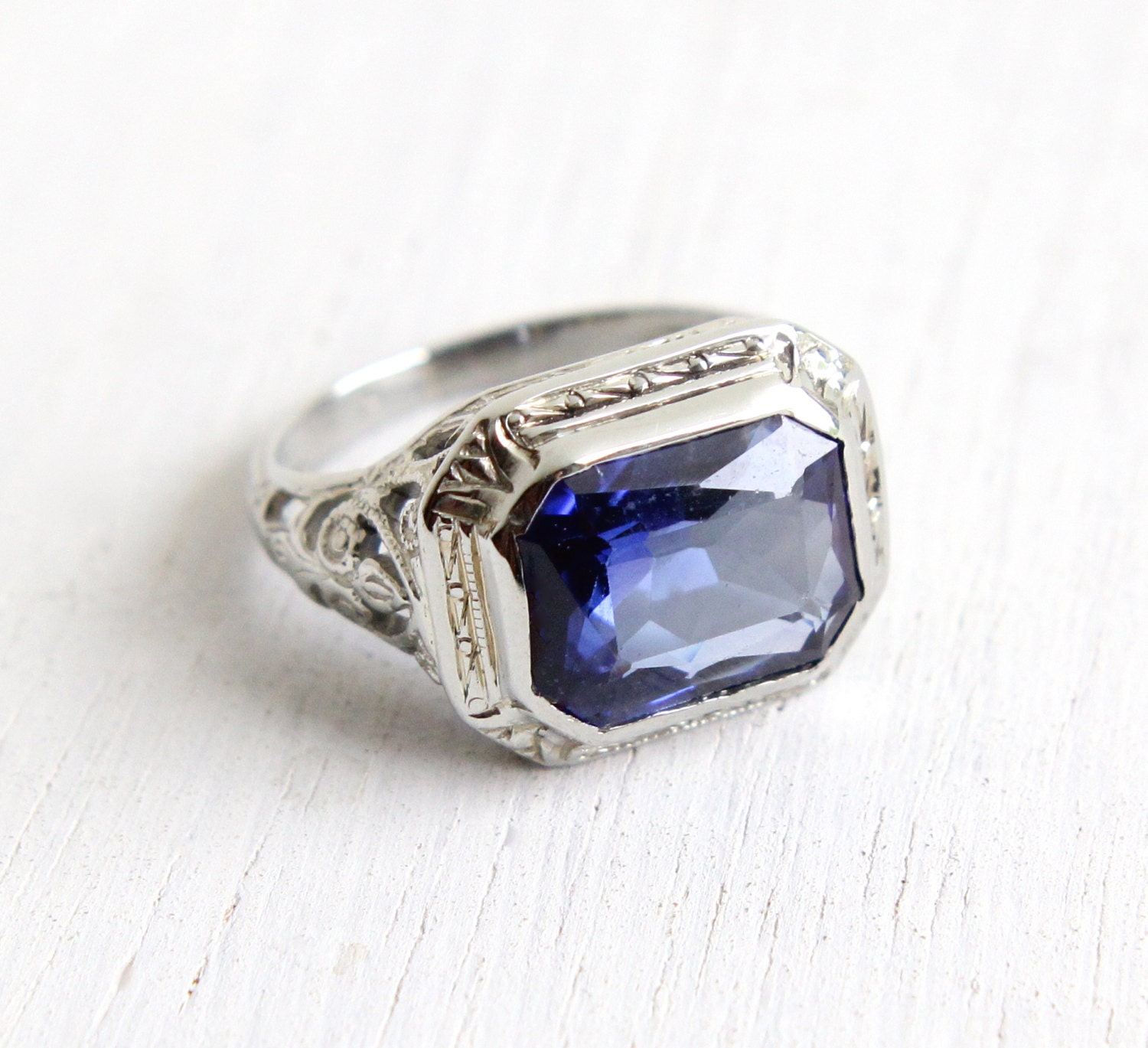 antique 18k white gold created sapphire ring by maejeanvintage