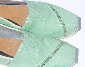 Custom Hand Painted Bridal Wedding TOMS Shoes