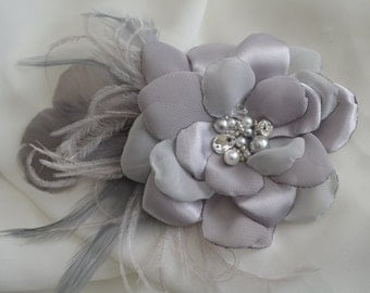 MADE TO ORDER,Flower Fascinator,Vintage Flower,Shades of Grey Flower,Fascinator,Headpiece,Fabric Flower,Rhinestone and Pearls,Style B010