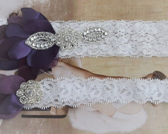 Shades of Purple Petal Lace Garter, Stretch lace garter set,Vintage Garter, Flower petal garter, white lace, Gatsby, bohemian