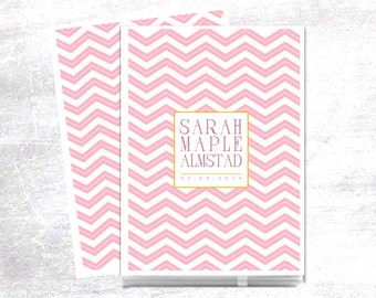 Pink Chevron Baby Memory Book, Personalized with Baby's Name and Birthdate