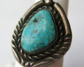 Vintage Navajo Indian Native American Turquoise Sterling Silver Ring size 6
