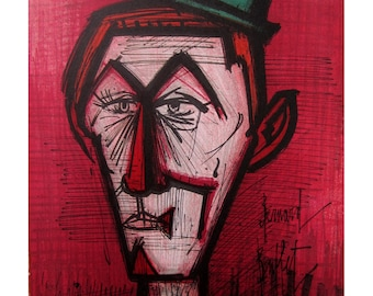 Bernard Buffet Midcentury Lithographic Print The Clown on a Red Background