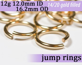 12g 12.0mm ID 16.2mm OD gold filled jump rings -- 12g12.00 goldfill jumprings 14k goldfilled