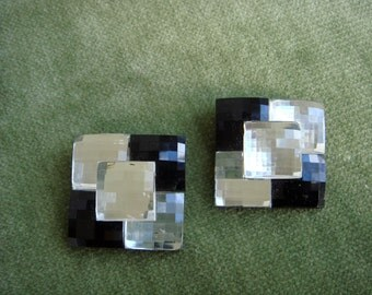 Shoe Clips Bluette Made in France Black and Crystal Deco Design