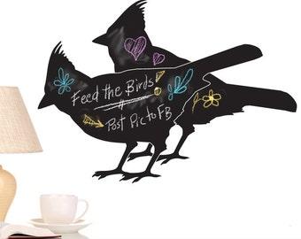 Vinyl Wall Decal Chalkboard - Cardinal Birds: Vinyl Chalk Board, Kitchen Decor, Bird Decor, Bird Lover Decor, Kids Playroom Decor