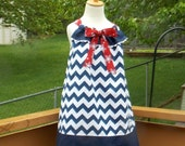 All American Girl Chevron Pillowcase Dress, Size 18 Months, 2, 3, 4, 5, 6, 7, 8, and 10.