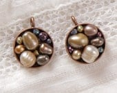 Pearl and copper round charms
