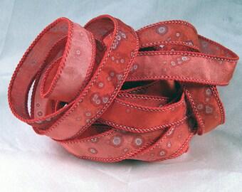Hand Dyed Silk Ribbon Jewelry - Ribbon bracelet pendant Wrist wrap - Valentine Sparkle