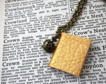 Gold Book Crown Necklace Last One - THE QUEEN'S Diary - faux leather notebook graduate writer bibliophile royal literary gift -