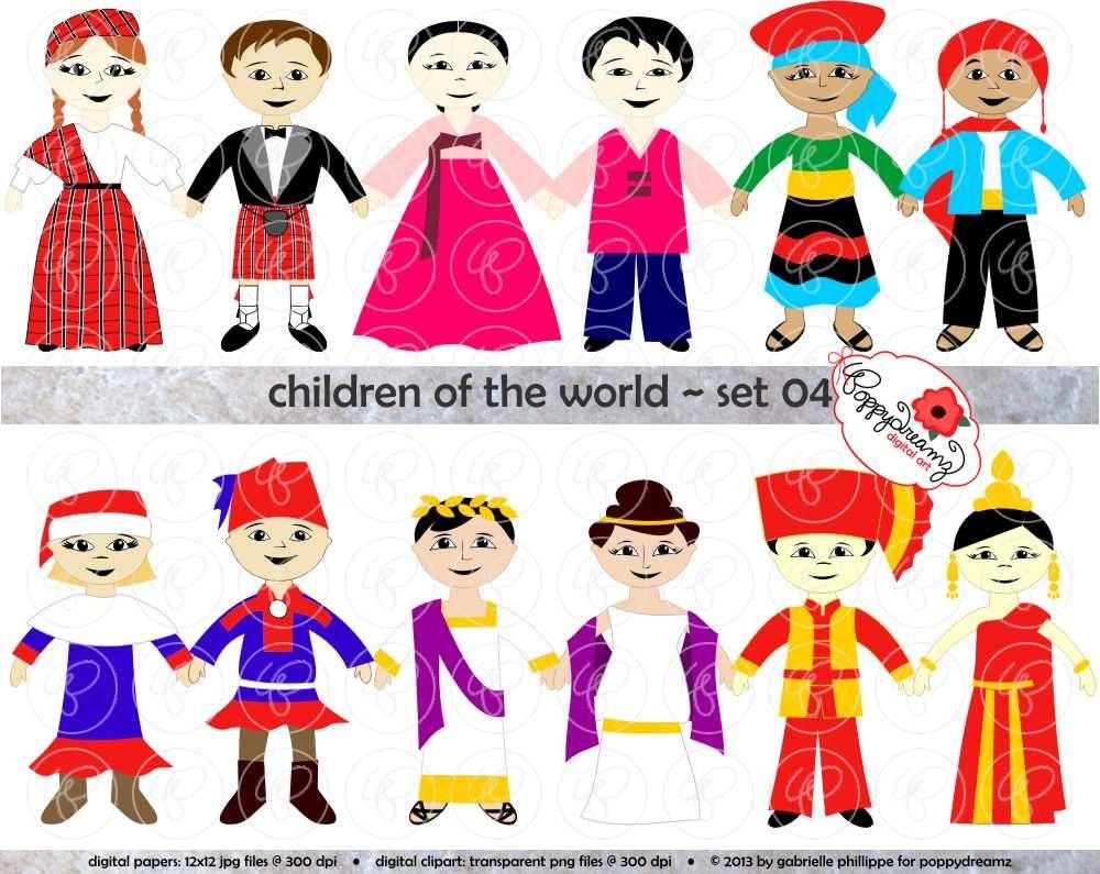 children of the world set 04 digital clip art scotland