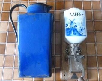Antique Delft Dutch Scene Coffee Grinder, Blue and White Decor