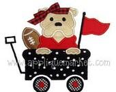 Bulldog in Wagon Football Shirt - Machine Appliqued Shirt - Personalized Embroidery - Bulldog Fan Shirt