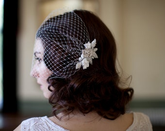 Birdcage veil with beaded leaves and crystal flower, 1920s veil,1930s veil, 1940s veil, ivory birdcage veil,champagne birdcage veil