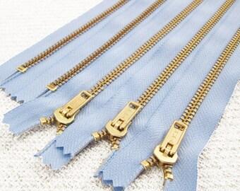 NEW: 10inch - Baby Blue Metal Zipper - Gold Teeth - 5pcs