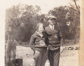 Couple Wearing Letter Sweaters - Vintage Photograph (UU)