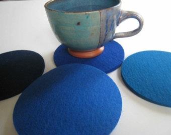 Blues Industrial Felt Drink Coasters