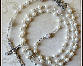 Catholic Baptism Rosary for Girls in Swarovski Pearl & Lampwork, Christening/Baptism Gift
