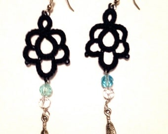 Tatting - Needle Tatted Earrings - Deep Blue with Crystal Drops and Pewter Feathers