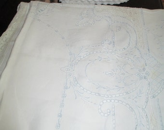 Antique LinenTablecloth / Napkins Lace Edge Blue Madiera c.1940's by Gatormom13
