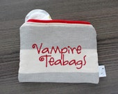 Vampire Teabag- wide stripe- ladies zipper pouch - feminine products - tampons - pads clutch - FREE SHIPPING