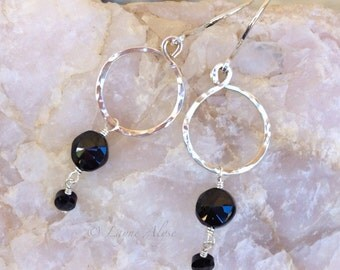 Hand hammered sterling hoop earrings with Spinel drops