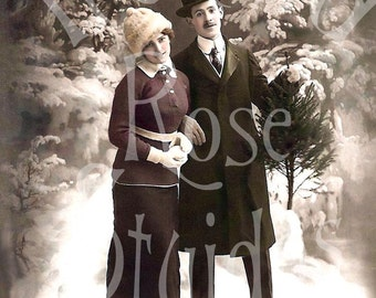 June and Theodore-German Postcard-Digital Download-Winter Snow-Christmas
