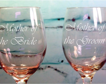 Custom Engraved Mother of the Bride and Mother of the Groom 20 ounce Wine Glasses