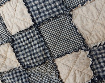 Black and Tan Twin Size Rag Quilt, Homespun Quilt, Primitive Country Decor, Farmhouse Quilt, Handmade in NJ