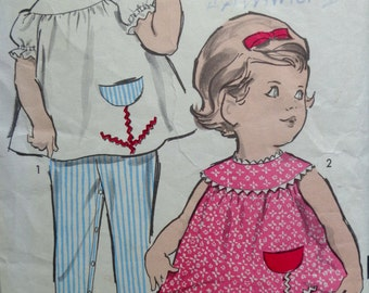 60s Toddlers Top Overalls Pants Panties Pattern Size 1 Advance 2904