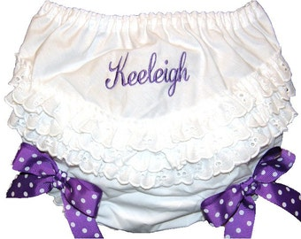 Personalized Ruffle Butt Bloomers Purple Dot Bows Baby Girl  Bloomers, Diaper Cover, Panties