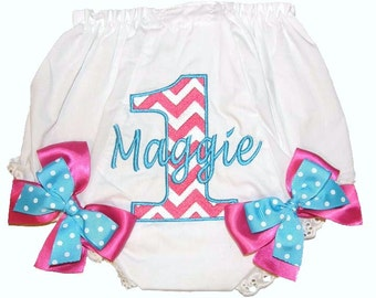 Personalized Chevron Design 1st, 2nd, 3rd, 4th Birthday Baby Girl  Bloomers, Diaper Cover