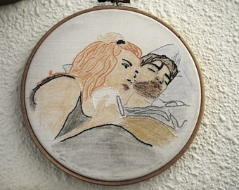 Eternal Sunshine of the Spotless Mind Embroidery - Clementine and Joel in bed