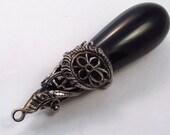 Vintage 1950's black teardrop acrylic caged pendant