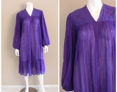 Vintage India Pleated Gauze Dress 1970s. Purple sheer cotton with hand embroidered gold birds.