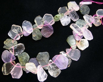 Amethyst Citrine Prehnite Rose Quartz Freeform Slab Beads