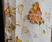 CURTAINS - SHEERS - kitchen - 4 panels - 2 valances - STRAWBERRIES - tulips - orange - yellow - green - brown - ruffle