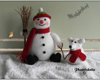 Snowman and Snowdog   Pattern only IMMEDIATE DOWNLOAD