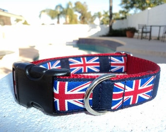 """Dog Collar 3/4"""" or 1"""" Quick  Release buckle Union Jack Flag - martingale collar style is cost upgrade - see description for details"""