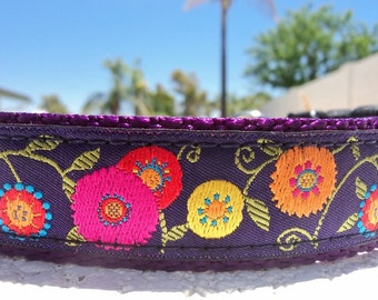 """Girl Dog Collar 1"""" Quick Release buckle collar style Flower Power Purple - sizes S - XL - No martingale"""