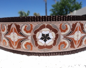 "Sale Large Dog Collar Vintage Earth 1.5"" wide side release buckle adjustable - martingale style is cost upgrade - no 1"" collar"