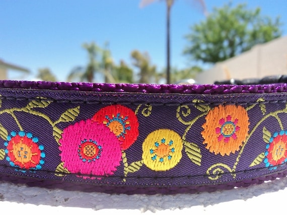 """Girl Dog Collar 1"""" Quick Release or Martingale collar style Flower Power Purple - sizes S - XL - see details for info"""