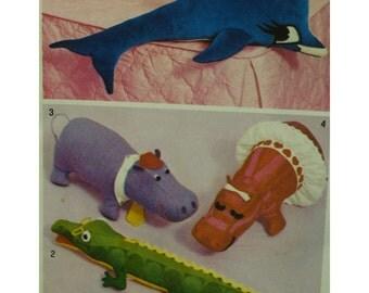 Vintage Stuffed Animals Pattern, Alligator, Hippopotamus, Dolphin, Hippo, Vintage 1970s, Simplicity No. 5778 One Size