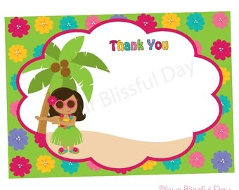 PRINTABLE Luau Thank You Cards (Character of your choice) #549
